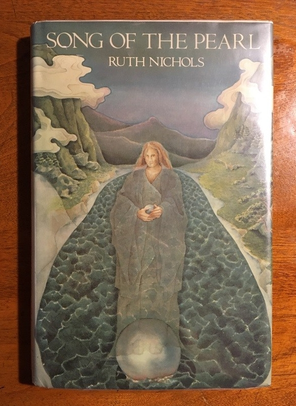 cover image of a blonde woman in a robe superimposed over a river, with a large pearl in her hands and at her feet, with mountains rising on either side